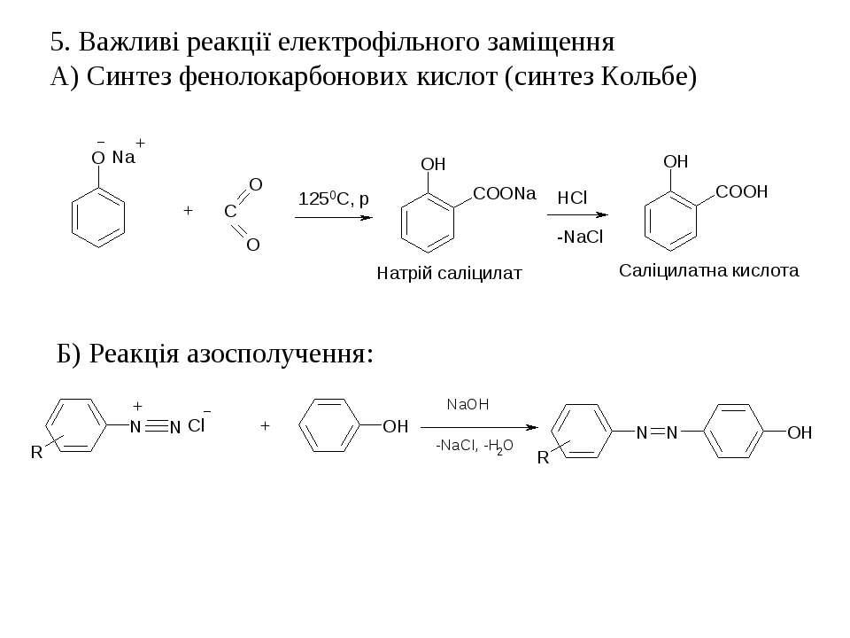 5. Важливі реакції електрофільного заміщення А) Синтез фенолокарбонових кисло...