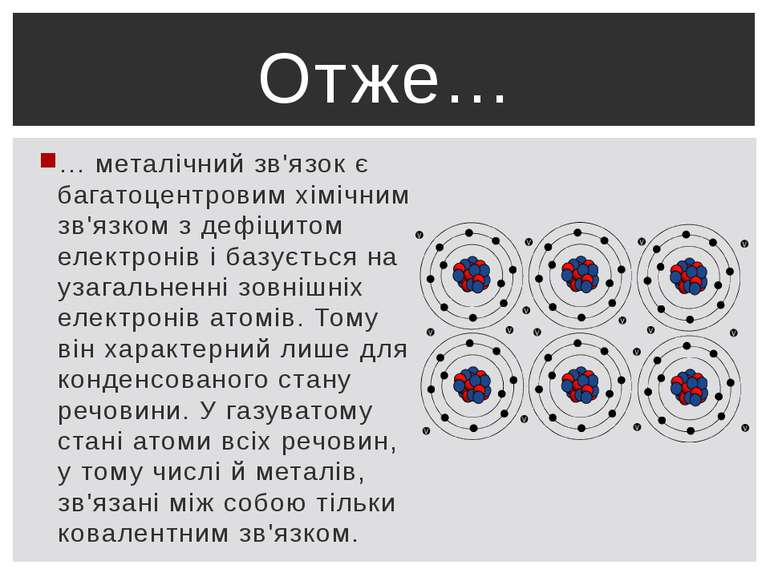 … металічний зв'язок є багатоцентровим хімічним зв'язком з дефіцитом електрон...