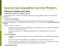 Архітектура операційної системи Windows Компоненти режиму користувача. 1. Біб...