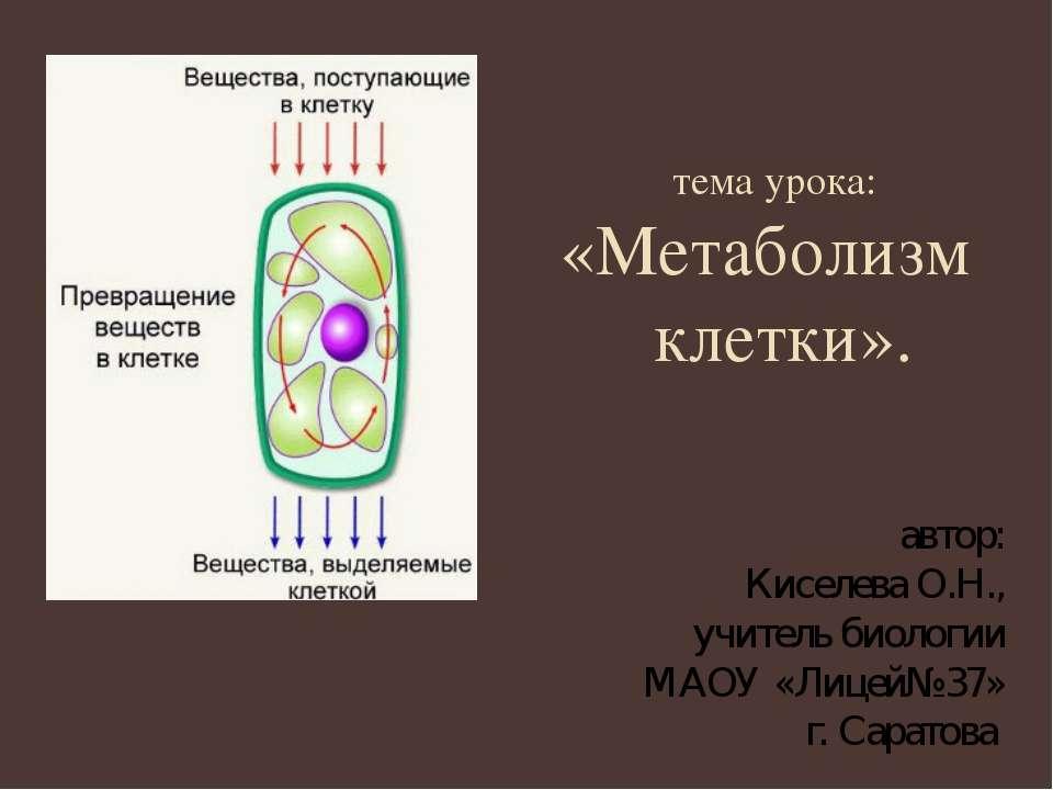 тема урока: «Метаболизм клетки». автор: Киселева О.Н., учитель биологии МАОУ ...