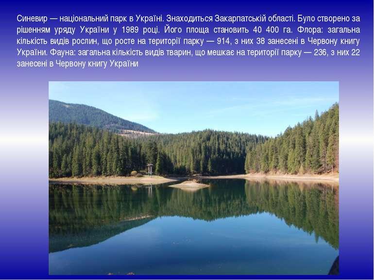 Синевир — національний парк в Україні. Знаходиться Закарпатській області. Бул...