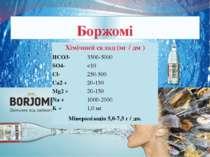 Боржомі Хімічнийсклад (мг /дм) HCO3- 3500-5000 SO4-