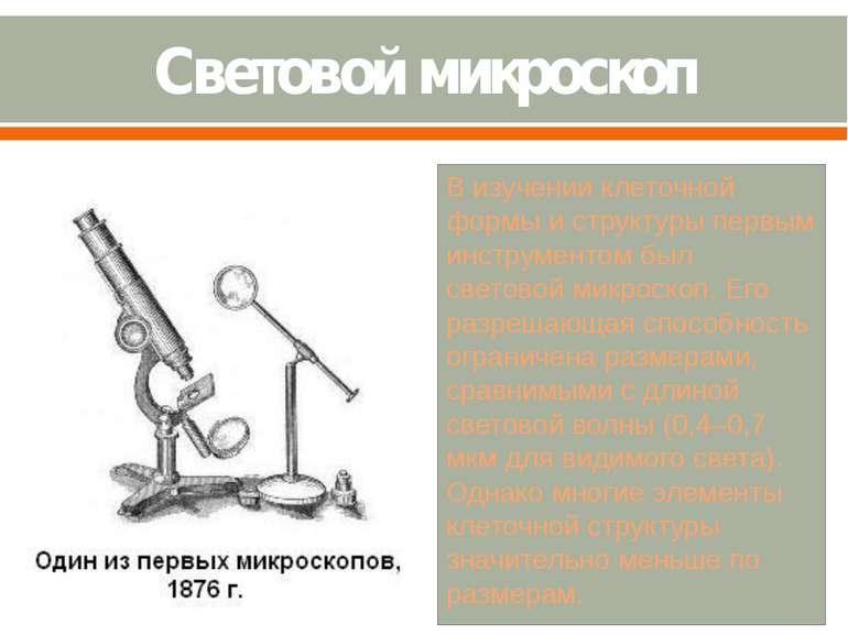 Световой микроскоп В изучении клеточной формы и структуры первым инструментом...