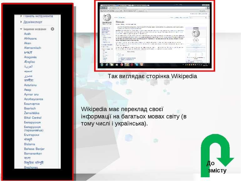 Так виглядає сторінка Wikipedia Wikipedia має переклад своєї інформації на ба...