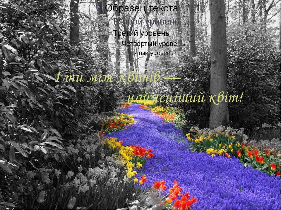 І ти між квітів — найясніший квіт!