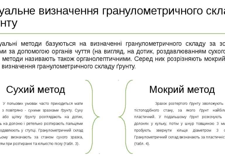 Для сухого зразку (табл.3) 1 Гранулометричний склад ґрунту Стан сухогоґрунту ...