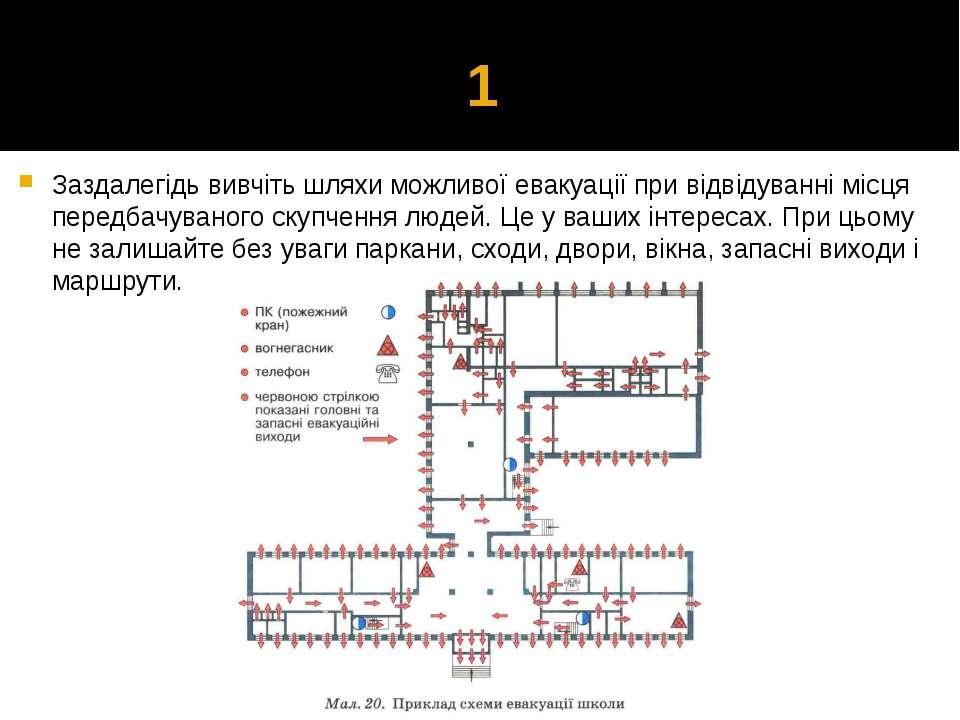 1 Заздалегідь вивчіть шляхи можливої евакуації при відвідуванні місця передба...