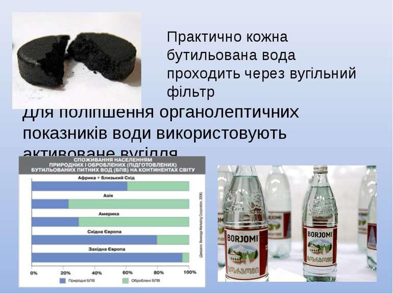 Для поліпшення органолептичних показників води використовують активоване вугі...