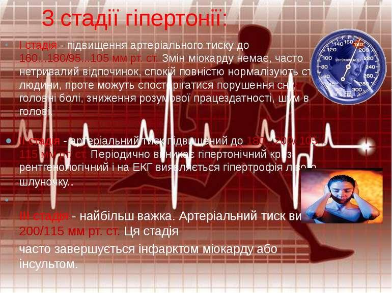 3 стадії гіпертонії: I стадія - підвищення артеріального тиску до 160...180/9...