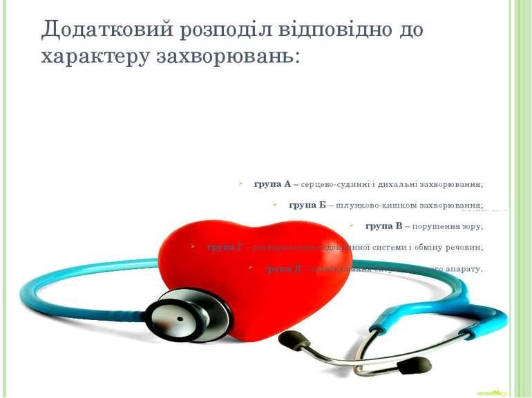 Додатковий розподіл відповідно до характеру захворювань: група А – серцево-су...