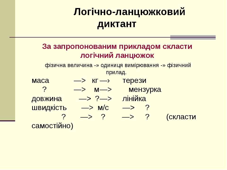 Логічно-ланцюжковий диктант За запропонованим прикладом скласти логічний ланц...