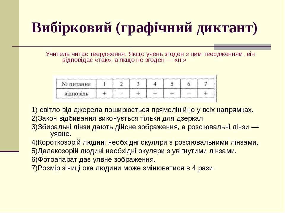 Вибірковий (графічний диктант) Учитель читає твердження. Якщо учень згоден з ...