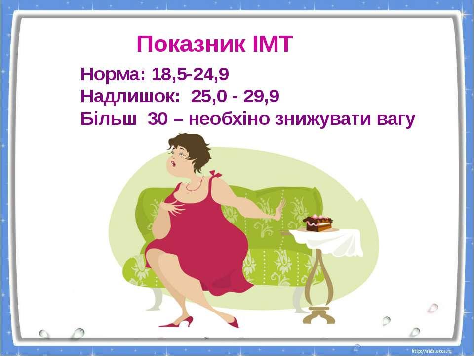 Норма: 18,5-24,9 Надлишок: 25,0 - 29,9 Більш 30 – необхіно знижувати вагу Пок...