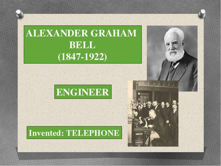 ALEXANDER GRAHAM BELL (1847-1922) ENGINEER Invented: TELEPHONE