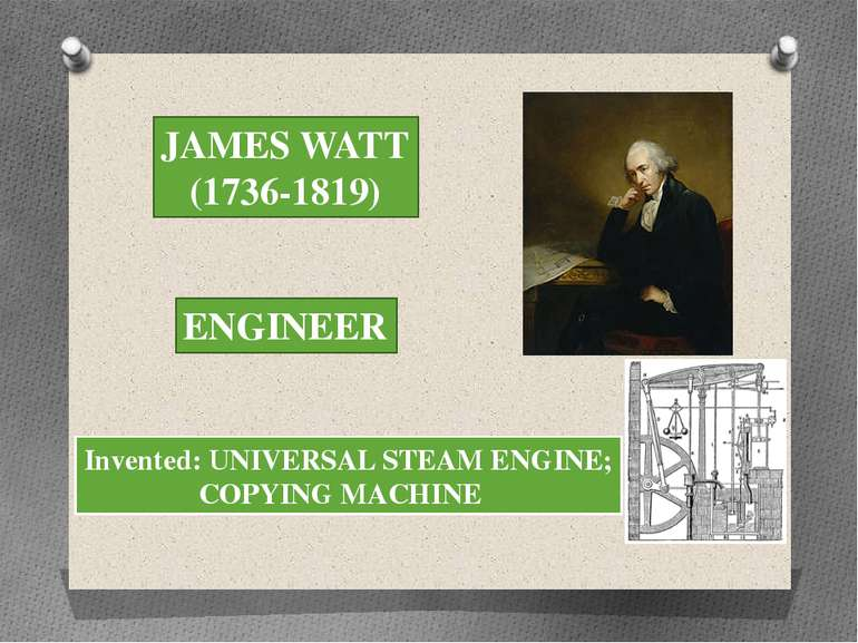 JAMES WATT (1736-1819) ENGINEER Invented: UNIVERSAL STEAM ENGINE; COPYING MAC...