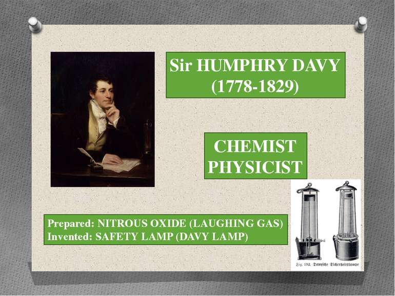 Sir HUMPHRY DAVY (1778-1829) CHEMIST PHYSICIST Prepared: NITROUS OXIDE (LAUGH...