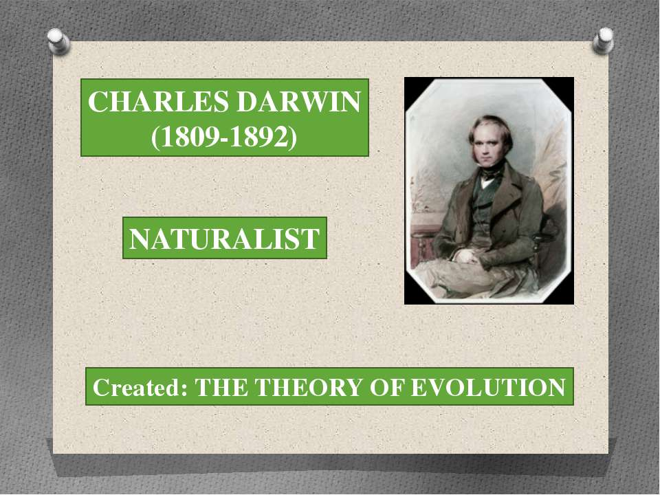 CHARLES DARWIN (1809-1892) NATURALIST Created: THE THEORY OF EVOLUTION