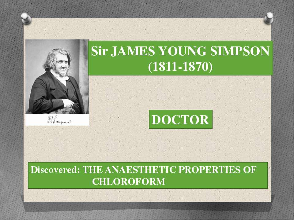 Sir JAMES YOUNG SIMPSON (1811-1870) DOCTOR Discovered: THE ANAESTHETIC PROPER...
