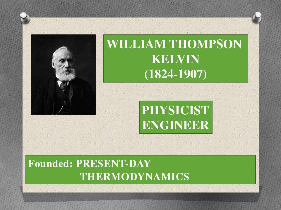 WILLIAM THOMPSON KELVIN (1824-1907) PHYSICIST ENGINEER Founded: PRESENT-DAY T...