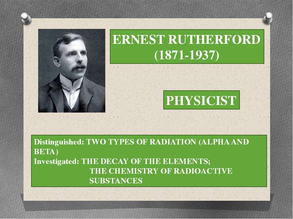 ERNEST RUTHERFORD (1871-1937) PHYSICIST Distinguished: TWO TYPES OF RADIATION...