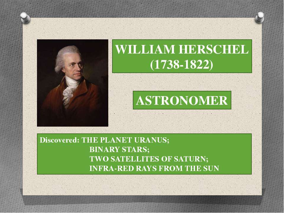 WILLIAM HERSCHEL (1738-1822) ASTRONOMER Discovered: THE PLANET URANUS; BINARY...