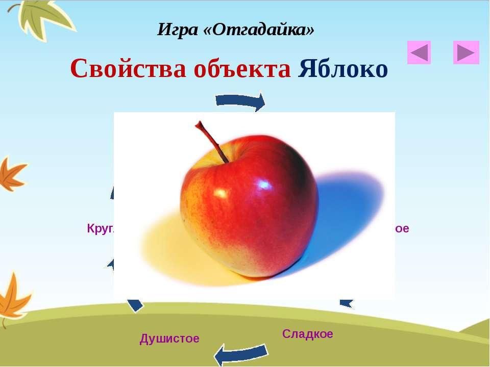 Свойства объекта Яблоко Игра «Отгадайка»