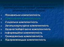 Пізнавальна компетентність Самоосвітня компетентність Соціальна компетентніст...