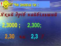 Чи знаєш ти : Який дріб найбільший 2,3000 ; 2,300; 2,30 чи 2,3 ?