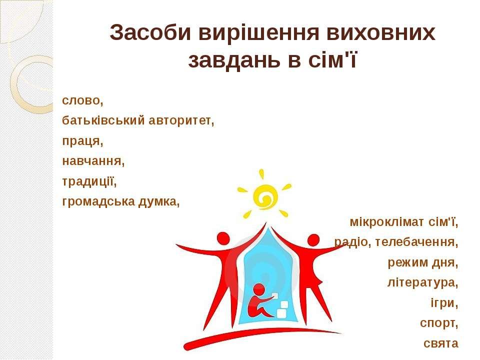 Засоби вирішення виховних завдань в сім'ї слово, батьківський авторитет, прац...