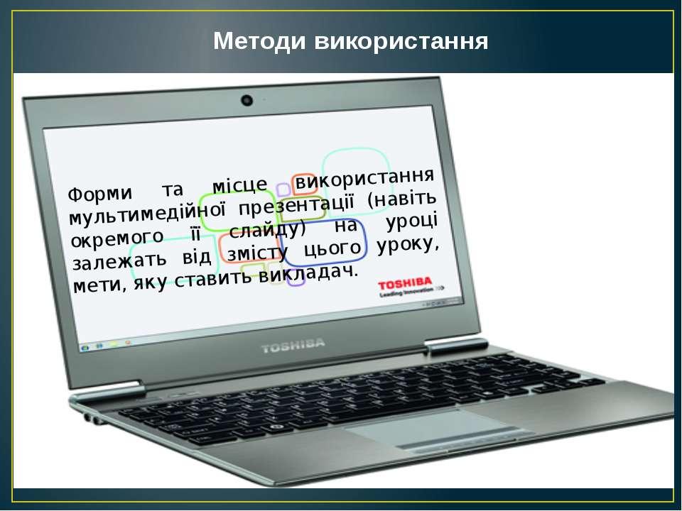 Форми та місце використання мультимедійної презентації (навіть окремого її сл...