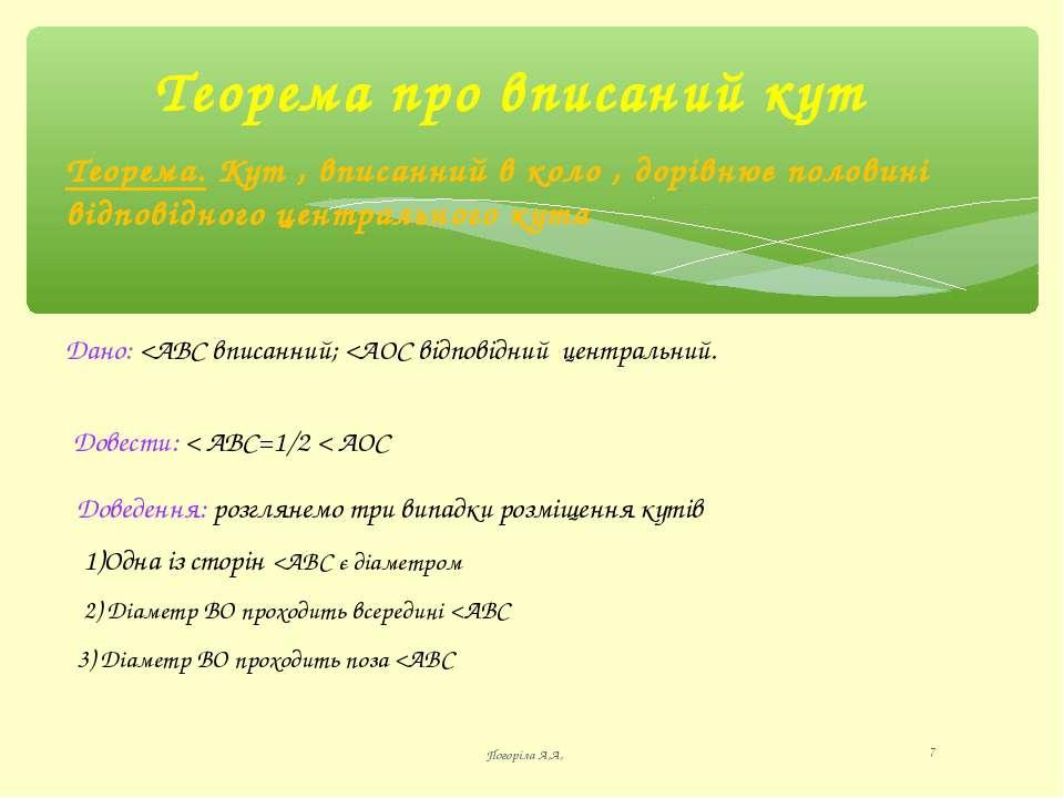 Теорема про вписаний кут Погоріла А,А, * Теорема. Кут , вписанний в коло , до...
