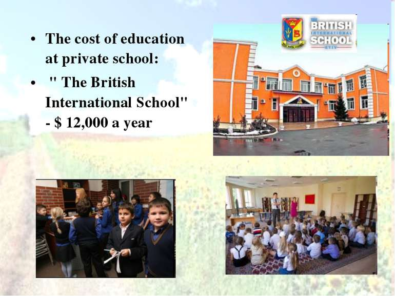 "The cost of education at private school: "" The British International School"" ..."