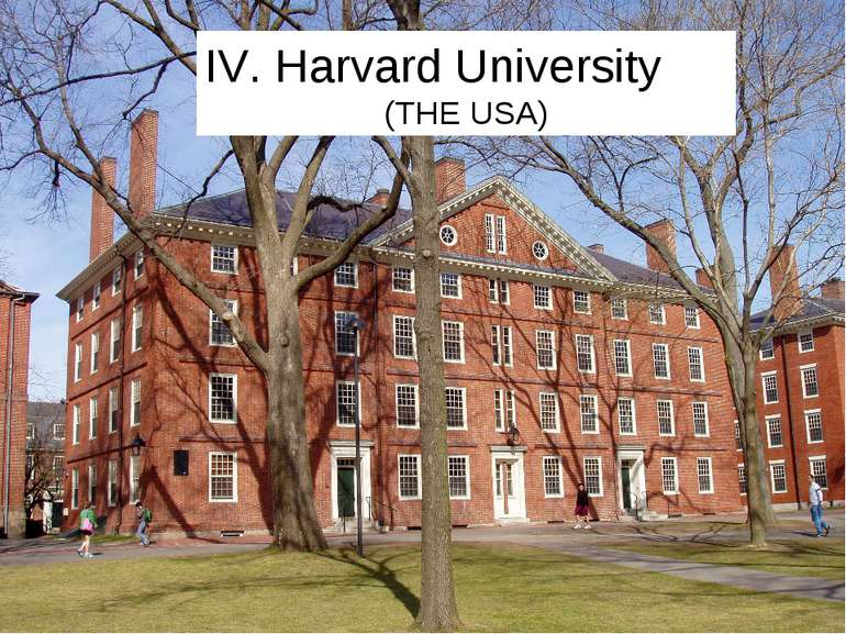 IV. Harvard University (THE USA)