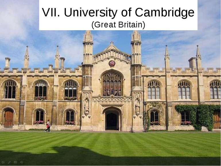 VII. University of Cambridge (Great Britain)