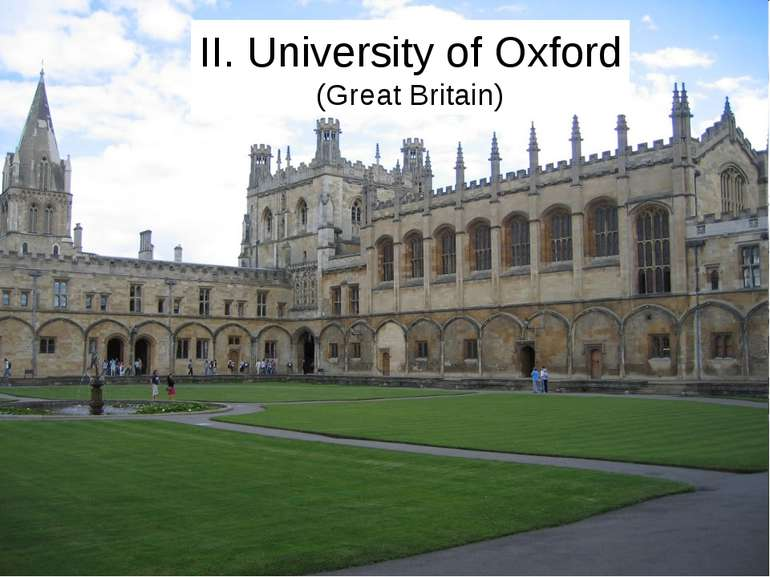 II. University of Oxford (Great Britain)