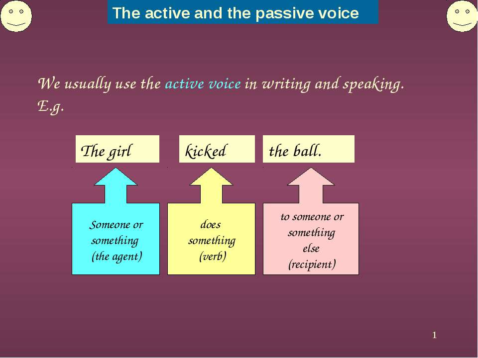 * We usually use the active voice in writing and speaking. E.g. The girl Some...