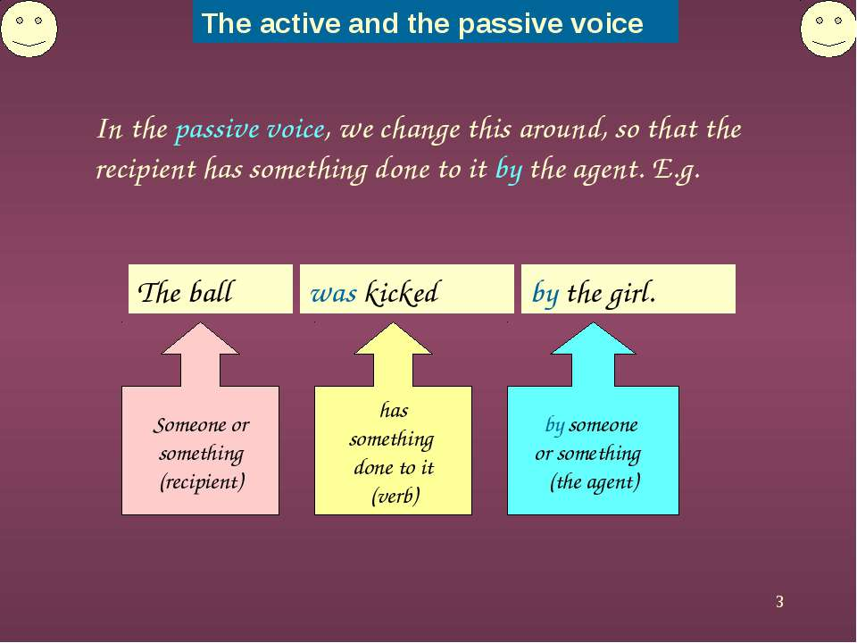 * In the passive voice, we change this around, so that the recipient has some...