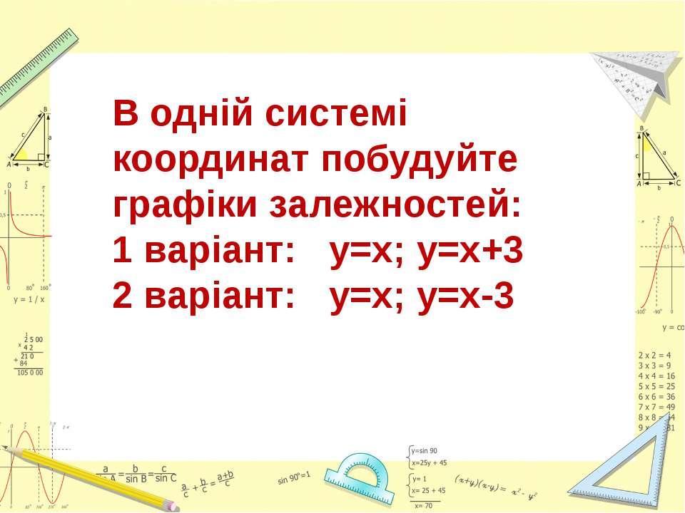 В одній системі координат побудуйте графіки залежностей: 1 варіант: у=х; у=х+...