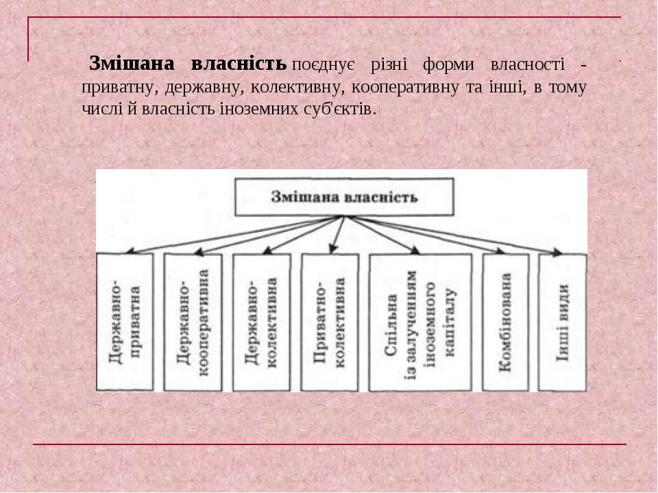 Змішана власністьпоєднує різні форми власності - приватну, державну, колекти...