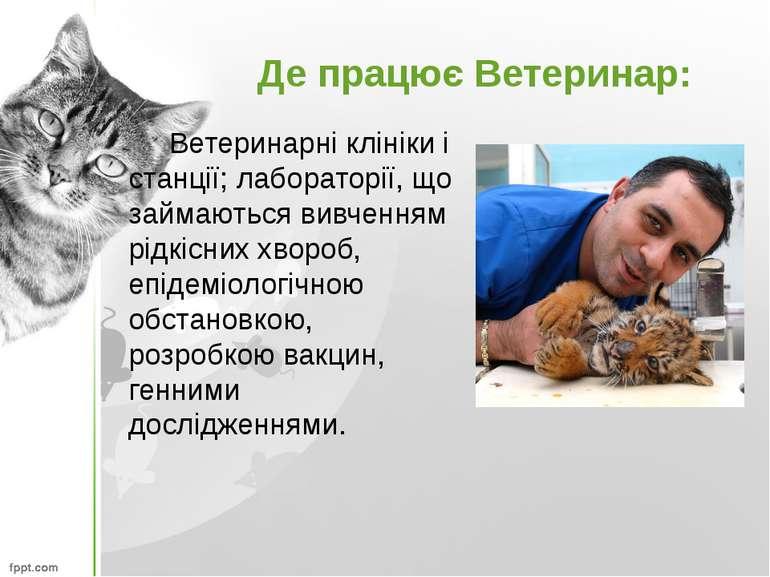 Де працює Ветеринар: Ветеринарні клініки і станції; лабораторії, що займаютьс...