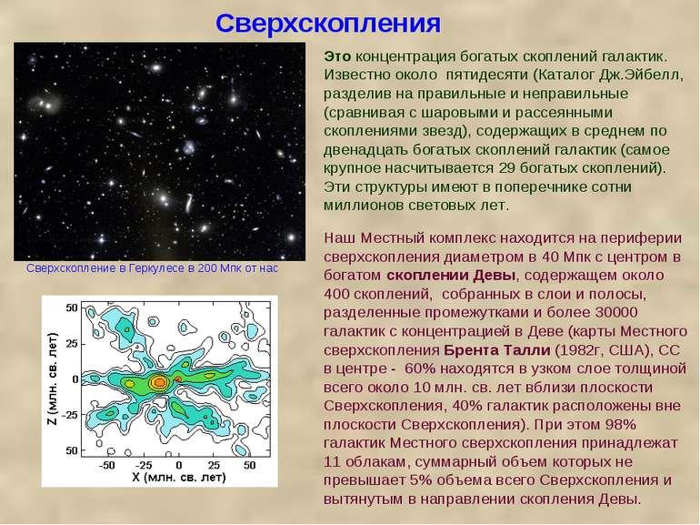 Сверхскопления Это концентрация богатых скоплений галактик. Известно около пя...