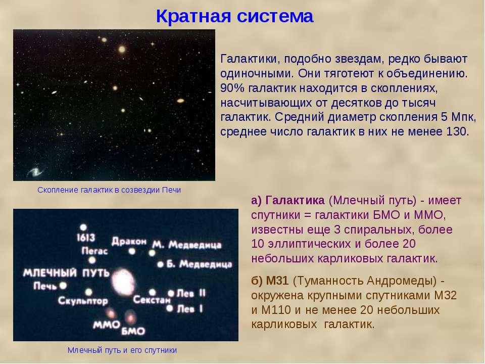 Кратная система а) Галактика (Млечный путь) - имеет спутники = галактики БМО ...