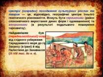 Центри (осередки) походження культурних рослин та тварин — це, відповідно, ге...