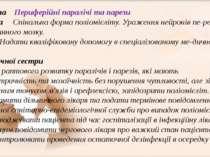 Проблема Периферійні паралічі та парези Причина Спінальна форма поліомієліту....