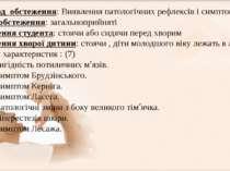 V. Методобстеження: Виявлення патологічних рефлексів і симптомів Умови обст...