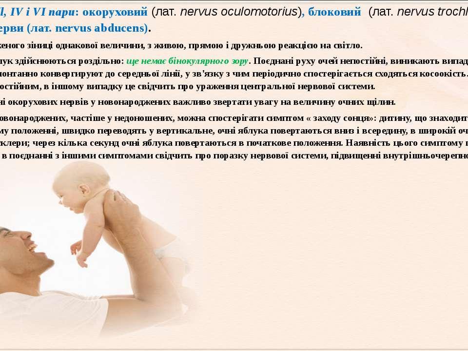 Ill, IV і VI пари: окоруховий (лат.nervus oculomotorius), блоковий (лат.ne...