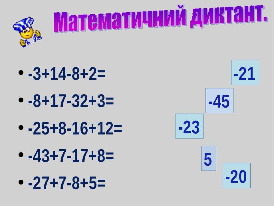 -3+14-8+2= -8+17-32+3= -25+8-16+12= -43+7-17+8= -27+7-8+5= 5 -20 -21 -45 -23