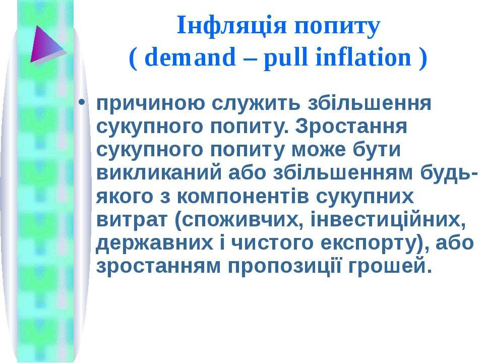Інфляція попиту ( demand – pull inflation ) причиною служить збільшення сукуп...