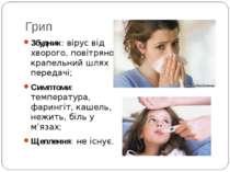 Грип Збудник: вірус від хворого, повітряно-крапельний шлях передачі; Симптоми...