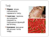 Тиф Збудник: воша, сальмонела черевного типу; Симптоми: гарячка, затьмарена с...